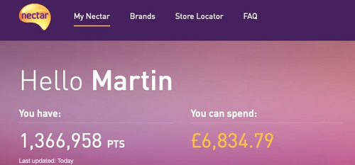 I collected almost £7,000 in Nectar points in four years'