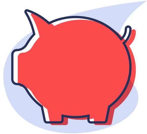 Illustration of a red piggy bank