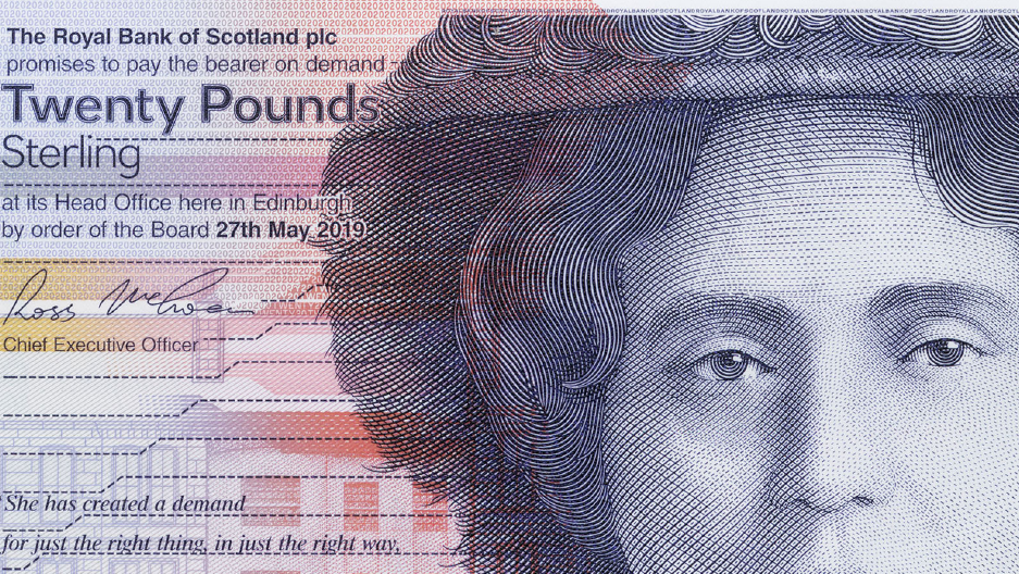 SCOTLAND 20 POUNDS 2019 2020 RBS ROYAL BANK of SCOTLAND POLYMER P NEW UNC