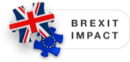 Text saying 'Brexit Impact' and two puzzle pieces - one with the UK flag on, the other with the EU flag on.
