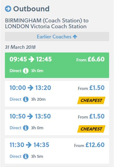 National Express £5 or less tickets
