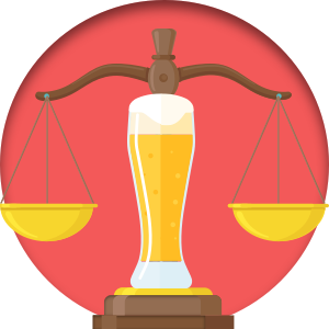 Pint of beer and the scales of justice