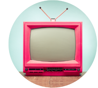 Small, pink old-fashioned CRT television with a blank screen and small antennas on top.