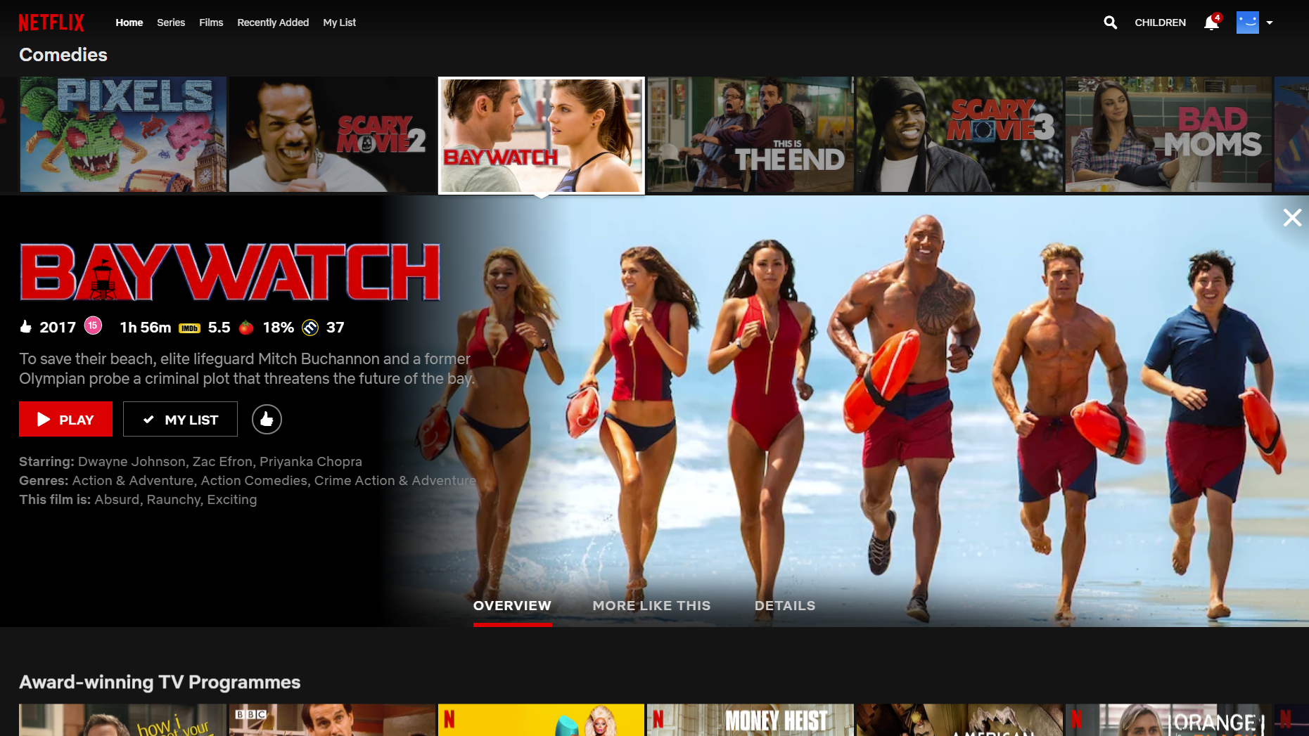 Baywatch on Netflix with review ratings.