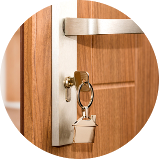 Door with key in