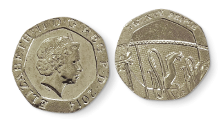 Two 20p coins, the first showing heads, the second tails.
