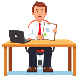 financial adviser at desk