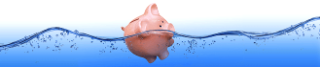 piggybank floating in water