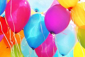 Assorted rainbow balloons