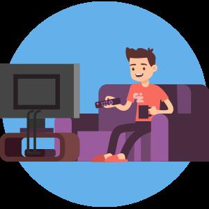 Illustration of man watching TV