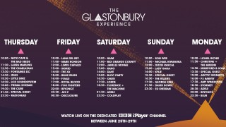 The schedule for the Glastonbury Experience on BBC iPlayer.