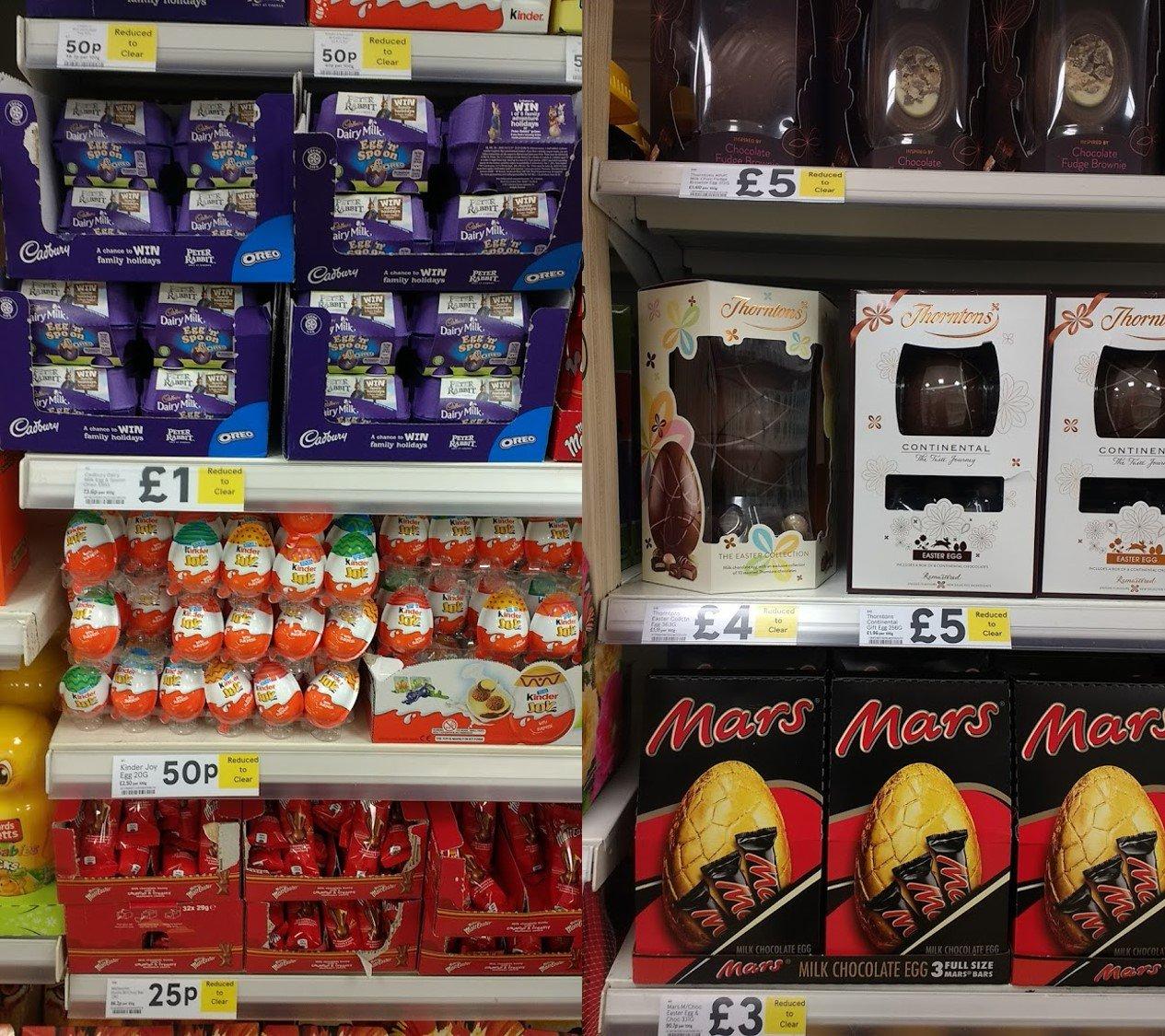 Cheap Post Easter Chocs Eg 17p Creme Eggs 50p Cadbury