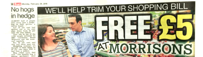 Free 5 Morrisons Voucher Via The Sun Claiming It Could Leave You