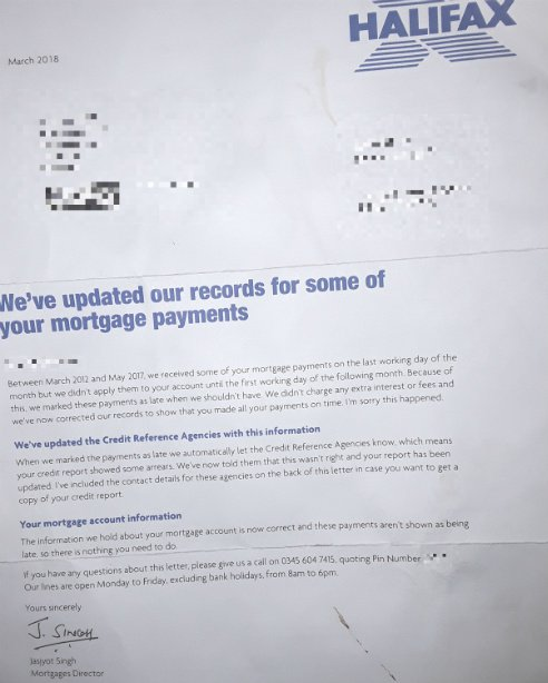 Halifax wrongly marks mortgage payments as late in five-year