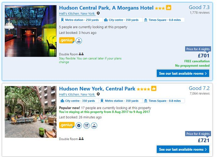 Booking.com lists same hotel with different star ratings and prices
