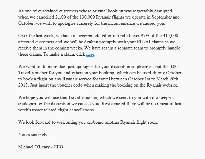 Ryanair Offers Up To 80 In Vouchers Following Flight Cancellations