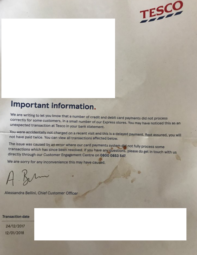below is the letter one customer received from tesco