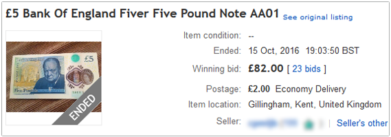Sold £80 note