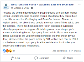 West Yorkshire Police warning over distraction burglars